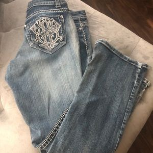 EUC- paisley Sky bling boot cut jeans